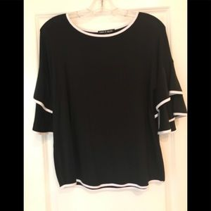 Black blouse with white trim size small